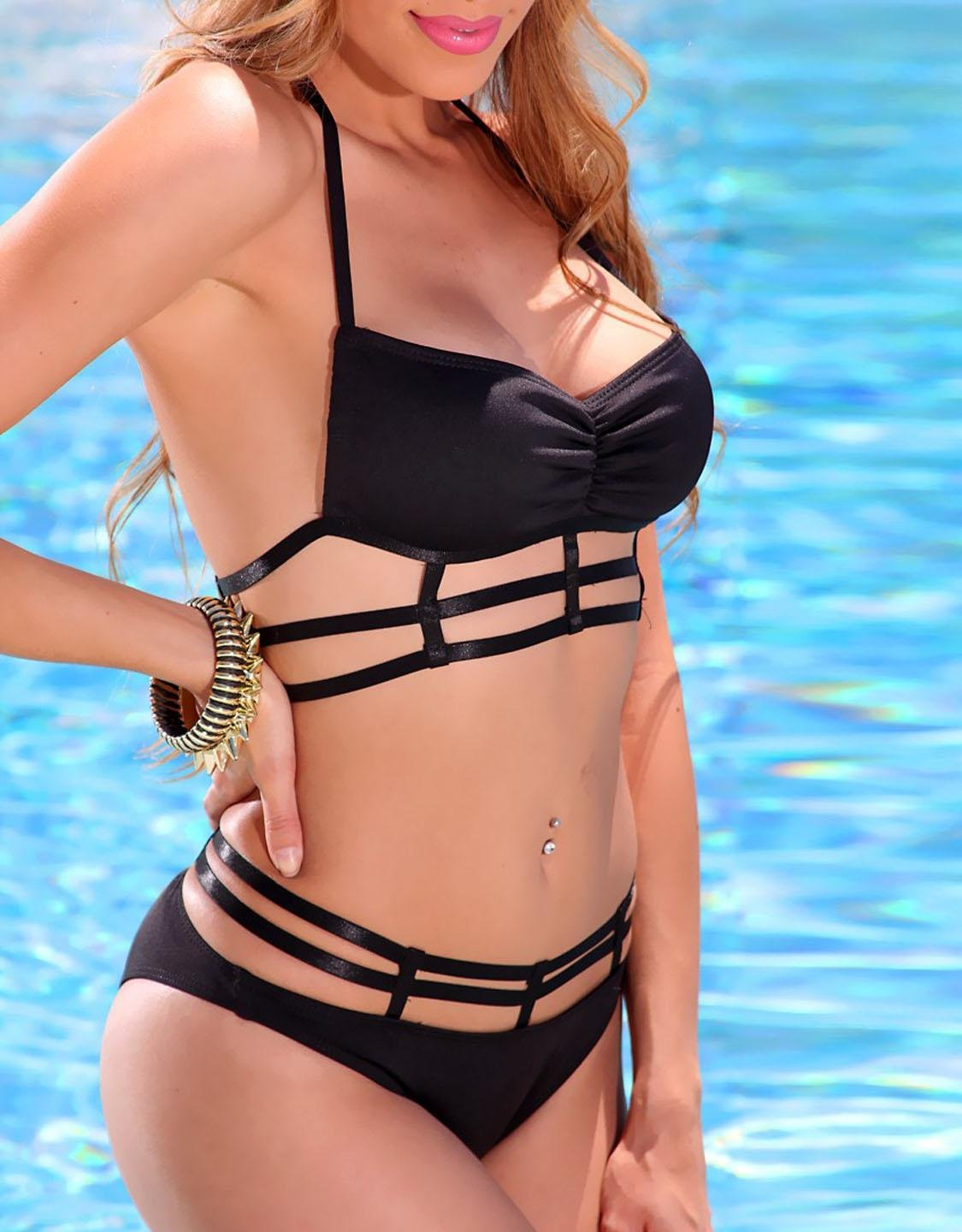 Black Bandeau Halter Caged Detail Sexy Swimsuit W209488A