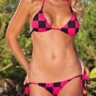One Size Swimwear Black and Rose Diamond Pattern Bikini Set
