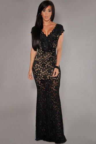 Fashion Floor Length Black Lace Dress Cap Sleeve Deep V-Neck Backless Sexy Maxi Dress W850464