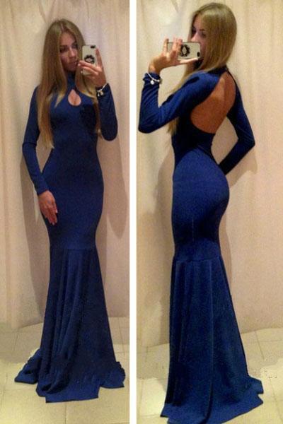 Floor Length Black Deep Blue Evening Dress Long Sleeve Halter Backless Prom Dress W850462