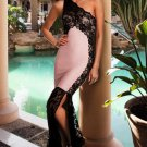 Pink Lace Detail One Shoulder Side Slit Maxi Dress Sexy Runway Dress Evening Dress W850422