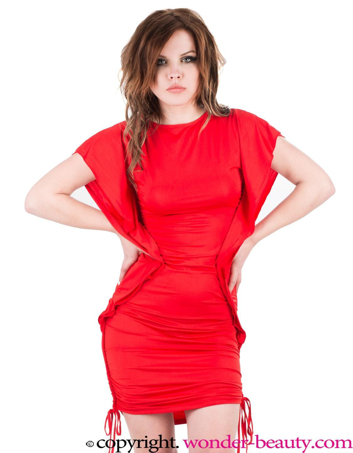 Short Flutter Sleeve Red Charming Slash Neck Club Mini Party Dress W3289