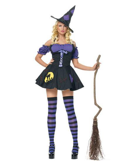 Sexy Gothic Beauties Fancy Dress Adult Purple Magic Witch Halloween Costumes