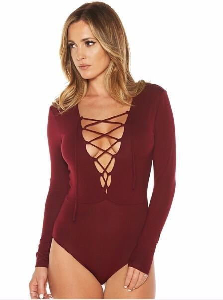 Hot Round Neck Woman Onesies Sexy Lace-Up Long Sleeve Criss-cross Jumpsuit W860302C