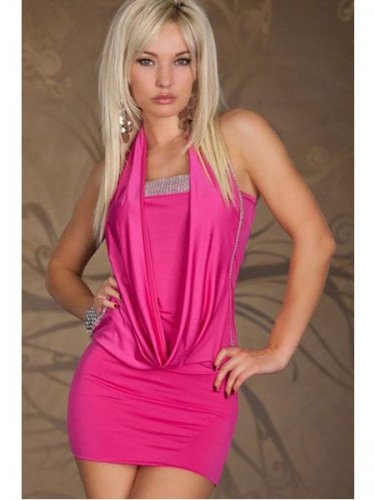 Pink Popular Halter Fashion Dress Off-shoulder Sexy Splicing Sequin Mini Dress W203418
