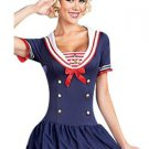 Fashion Female Deep Blue Sailor Costumes Fancy Dress with Hat W438049