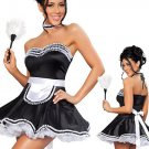 Halloween CosPlay Outfit Black Ruffle Hem Off-shoulder Fifi French Maid Fancy Dress Costume W348194