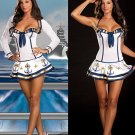 Long Sleeve Sailor Stewardess Outfit with Hat Halloween Costume Cosplay Fancy Dress