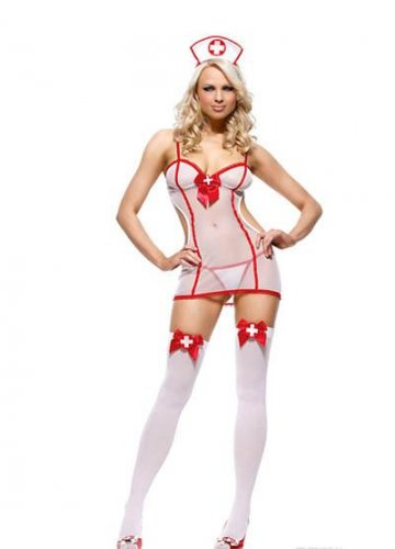 86ceece857f White Halloween Costume CosPlay Fancy Dress Sheer Sexy Nurse Outfit with  Hat W292927