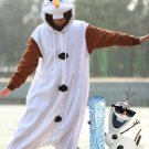 Olaf Frozen Costume Carnival Faux Fur White Snowmen Fancy Dress Cosplay Costume