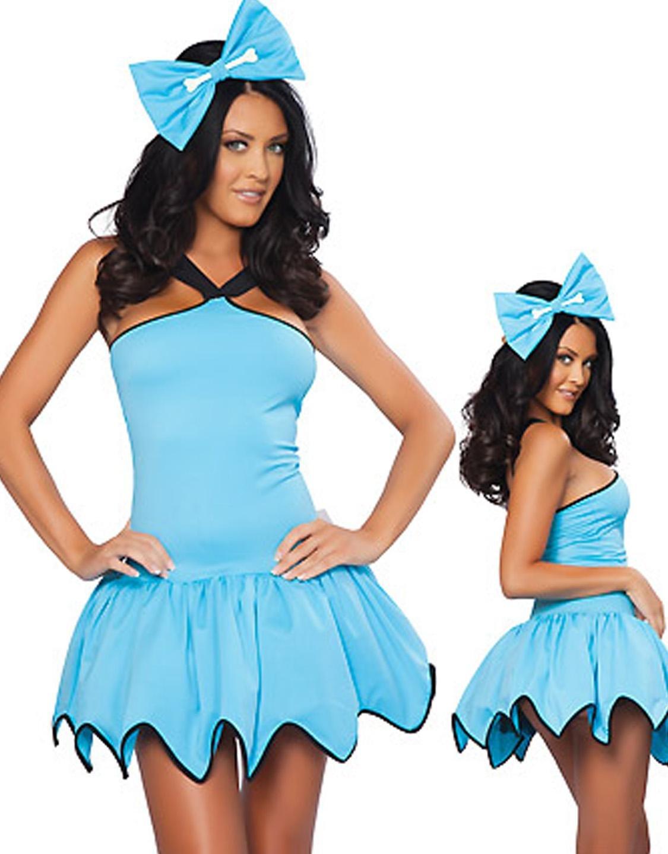 Carnival Fancy Dress Sleeveless Solid Blue Gear Hem Costume with Big Handband W292710