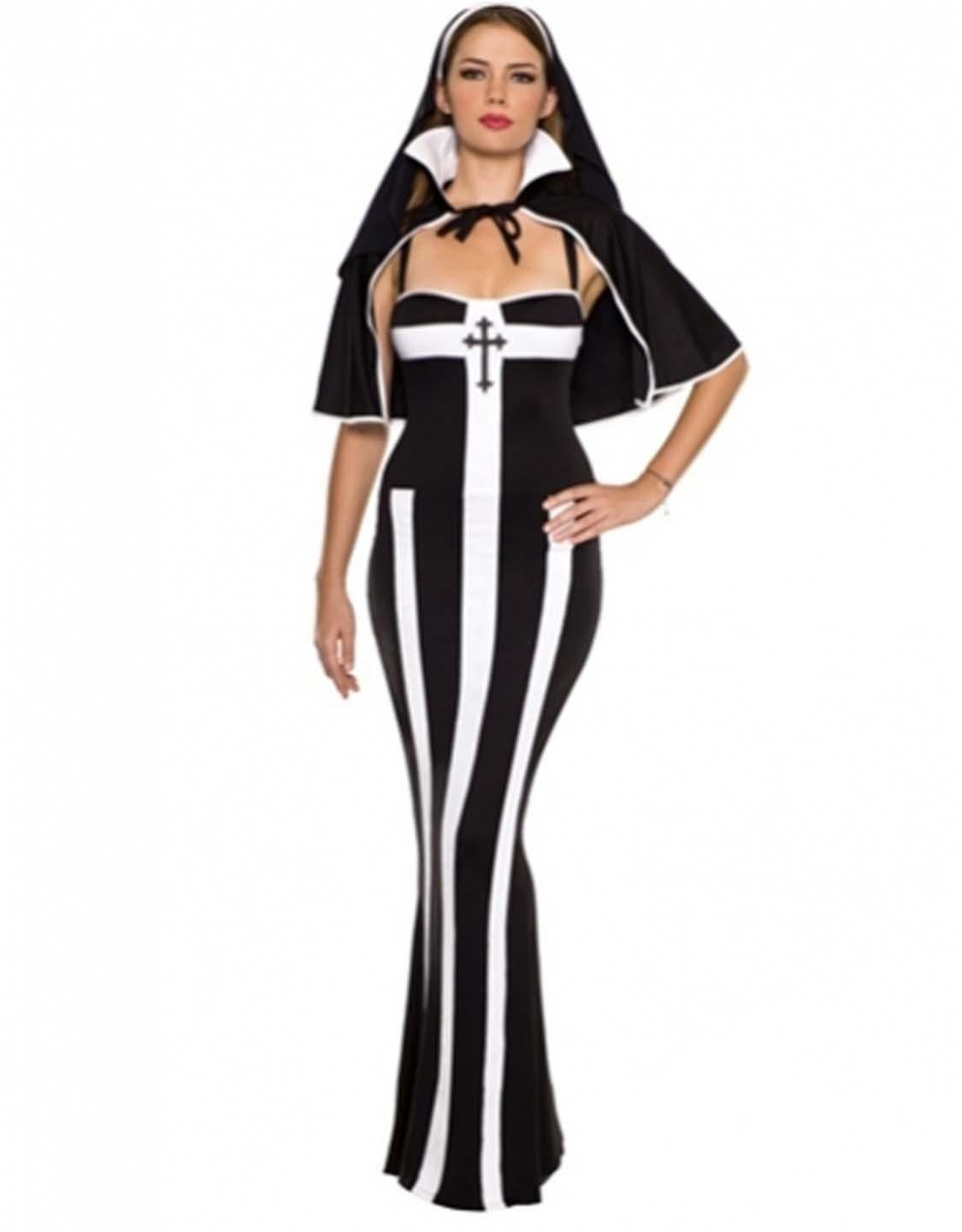 Uniform Temptation Deluxe Nun Costume Classic Sexy Ankle Length Halloween Fancy Dress