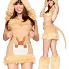 Faux Fur Sexy Kangaroo Costume Carnival Fancy Dress Animal Costume Woman Cosplay Clothing
