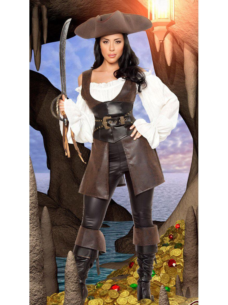 Sexy COS Uniform Deluxe Costume Adult Women Halloween Pirate Fancy Dress