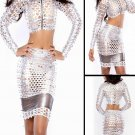 Fashion Sexy Silver Goddess Club Dress with Tops and Skirt PVC Hollow Holes Night Out Dress W373512C