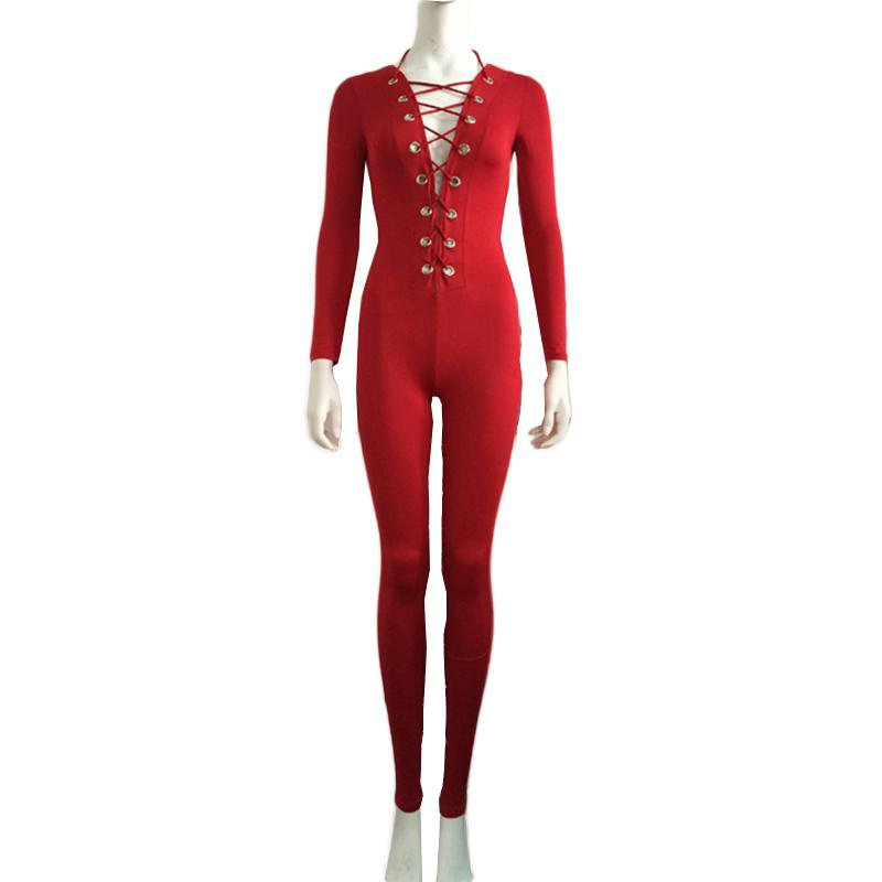 Sexy Skinny Onesies Red Long Sleeve Rompers Deep V-Neck Lace-Up Jumpsuits