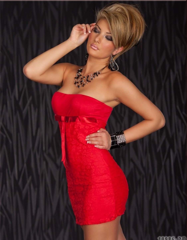 Red Sexy Short Dress Summer Strapless Bowknot Ribbon Lace Mini Dress W203112A