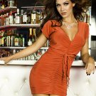 Orange Night Out Club Dress Fashion Style Sexy Summer Draped Mini Dress W850480