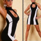15% Discount Sexy Black and White Stripe Club wear with Halter Night Out Dress W203471