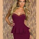 Sexy Deep Rose Peplum Mini Dress with Off-shoulder Night Out Dress