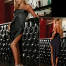Black Sexy Off-shoulder Bias Cut Evening Grown with a beautiful V-shape at the bottom W203572