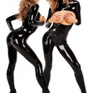 Hot Long Sleeve Sexy Black Catsuit Faux Leather Costume Wet Look Cupless Jumpsuit W7818