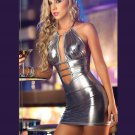Silver Women Halter Sexy Dress Sleeveless Vinyl Leather Night Out Club Dress W7928