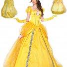 Fairy Tales Princess Costume High Qualiy Elegant Carnival Cosplay Yellow Women Beauty Costume