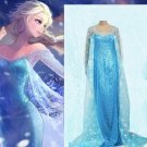 Free Shipping Halloween Fancy Dress Classic Woman Snow Queen Elsa In Frozen Cosplay Costume  W846124
