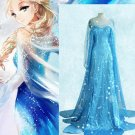 Free Shipping Halloween Fancy Dress Classic Elsa Princess Blue Sequined Cosplay Costume W846130