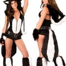 Faux Fur Animal Fancy Dress Sexy Skunk Bodysuit Costume with Tail