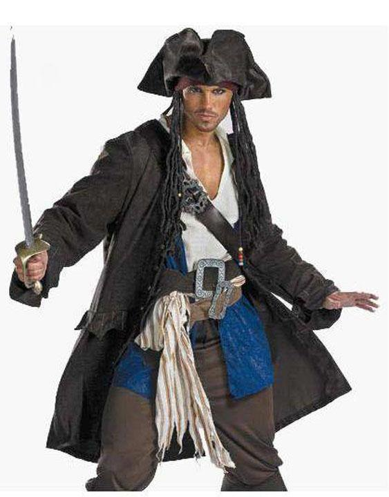 Halloween Man Pirates of the Caribbean Outfit Cosplay Fancy Dress Costume with belt W159053