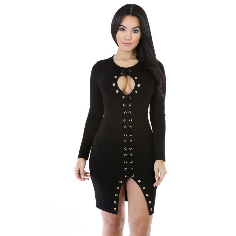 Autumn Spring Lace-Up Keyhole Bodycon Dress Black Fashion Dress Long Sleeve Mini Dresses