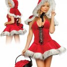 Faux Fur Red Sexy Hoodwinked Xmas Costume Hoodie Dress Christmas Outfit Fancy Dress W204058