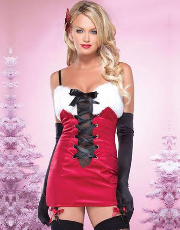 Fashion Lace Up Spaghetti Straps Christmas Dress X-mas Outfit W208522A
