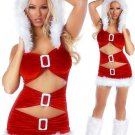 Ruffled Metal Fluff Christmas Dress Sexy Hoodie Fancy Dress X-mas Outfit  W444022