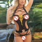 Yellow New Save $10 Halter Women Sleepwear Sexy Midnight Lace and Rhinestone Glamour Teddy W6312A