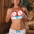 Short Skirt with Tops Hot V-neck White Sheer Lace Lingerie Set for Woman W6544