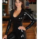 Black Sexy O-neck Leather Wet Look Catsuit Erotic Vinyl Jumpsuit for Women W7834