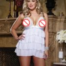 Plus Size XXL Lingerie Set Sexy 2XL babydoll Lace Ruffled Sleepwear W846020