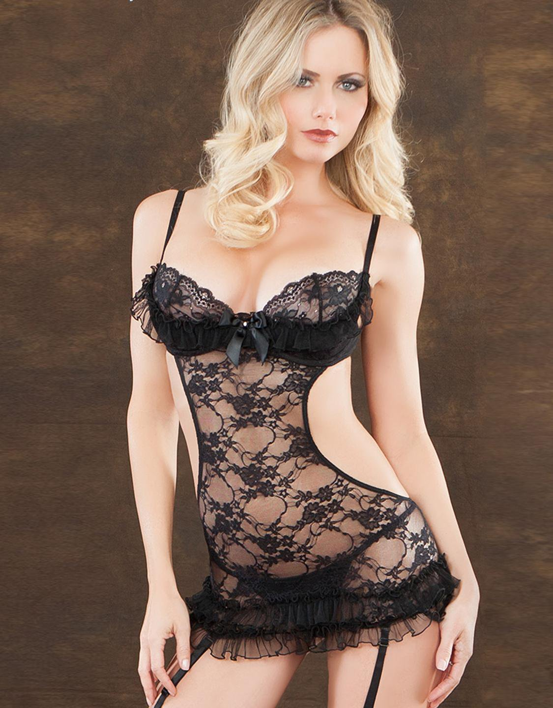 Hot Halter Sexy Tight Midnight Black Lace Ruffle Gartered Chemise With Removable Garters W6556B