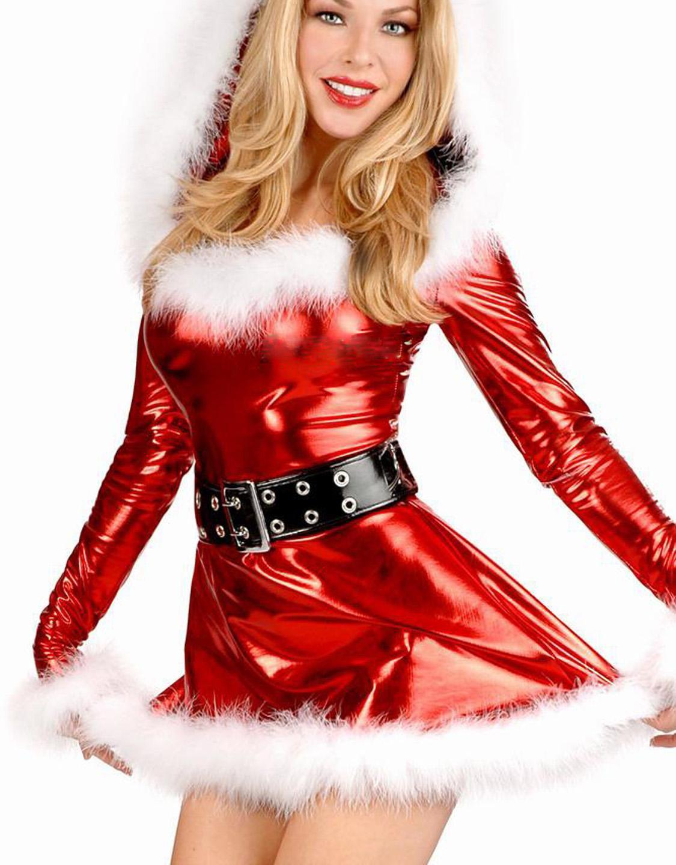 30% Off Beautiful Fancy Dress Ladies Shiny Metallic Christmas Santa Costume W204018