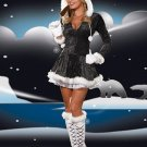 Xmas Outfit Unusual Adult Sexy Black Christmas Costume with hoddies W4005B