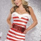 Xmas Fancy Dress Sexy Unusual Adult Christmas Candy Cane Sparkle Knit Dress Costume W204017