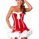 Free Shipping 30% Off New Off-shoulder Xmas Red Sweet Santa Costume W344023 with Hat