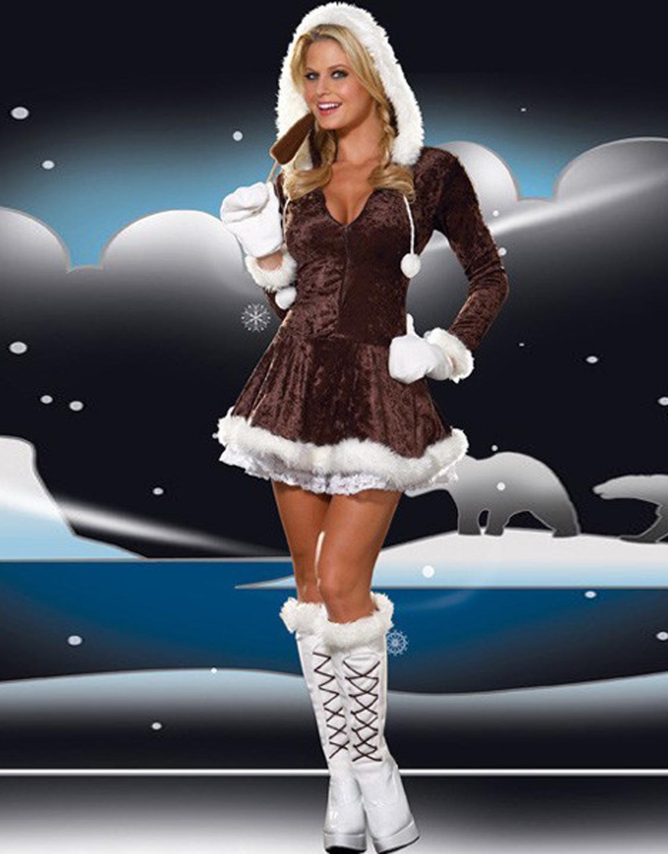Good Quality V-neck Xmas Sexy Women Brown Fur Christmas Costume Hoddies W4005A