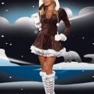 Good Quality V-neck Xmas Sexy Women Brown Fur Christmas Costume Hoddies W4005A