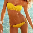 Two Pieces Famous Brand Yellow Bra Set Bikini W399432F