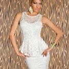 Good Quality Sleeveless White Lace Peplum Dress Night Club Wear