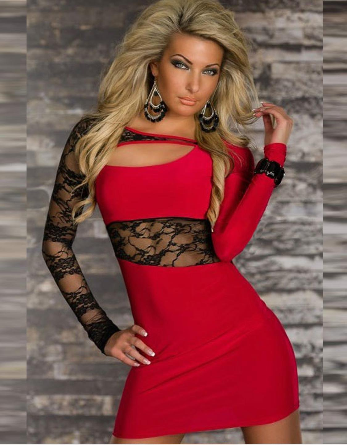 Where to buy Sexy Dress Cut-out Dress Summer Daring Lace Red Mini Clubwear